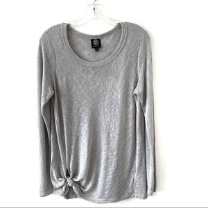 BOBEAU GRAY SWEATER WITH A KNOT ON THE RIGHT SIDE